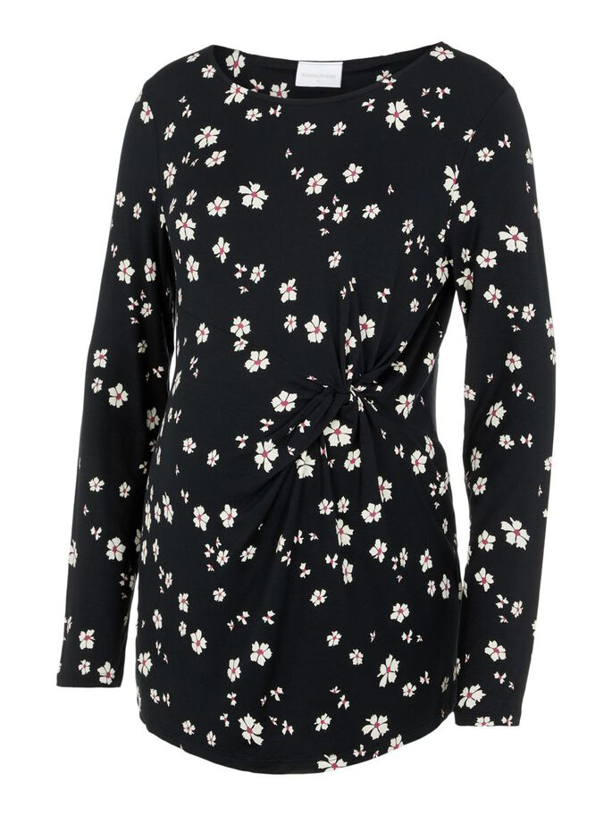 FLORAL LONG SLEEVED MATERNITY TOP, Black, large