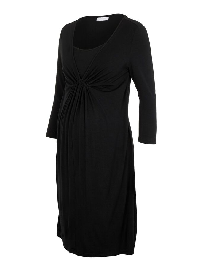 SOLID JERSEY 2-IN-1 MATERNITY DRESS, Black, large