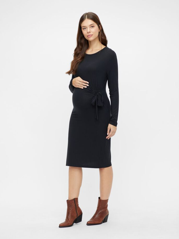 KNOT DETAILED MATERNITY DRESS, Black, large
