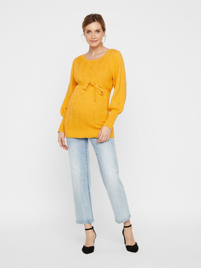 BALLON SLEEVED KNITTED MATERNITY PULLOVER, Mineral Yellow, large