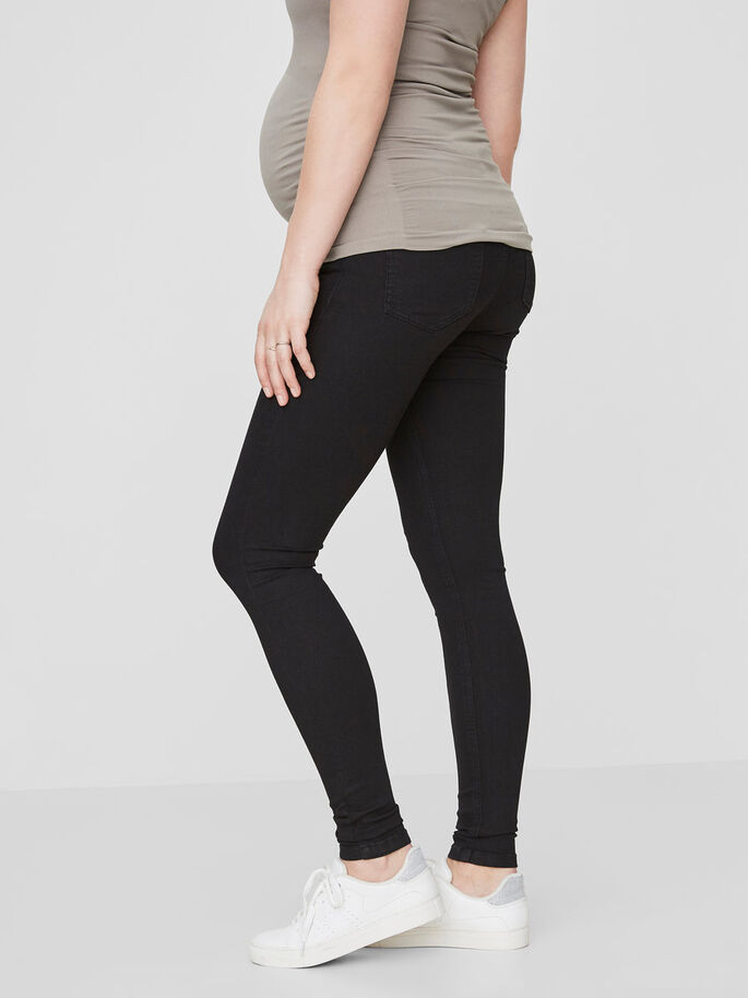 SKINNY MATERNITY JEGGINGS, Black Denim, large