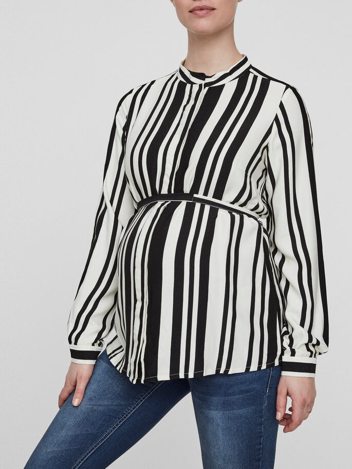 STRIPED MATERNITY SHIRT, Snow White, large
