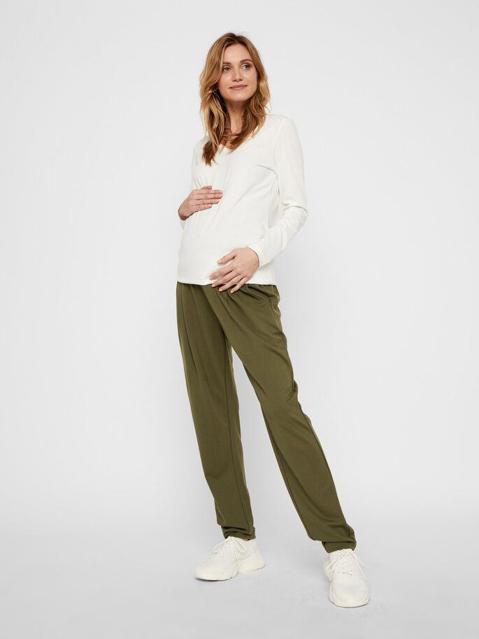 MLLIF JERSEY MATERNITY TROUSERS, Dusty Olive, large