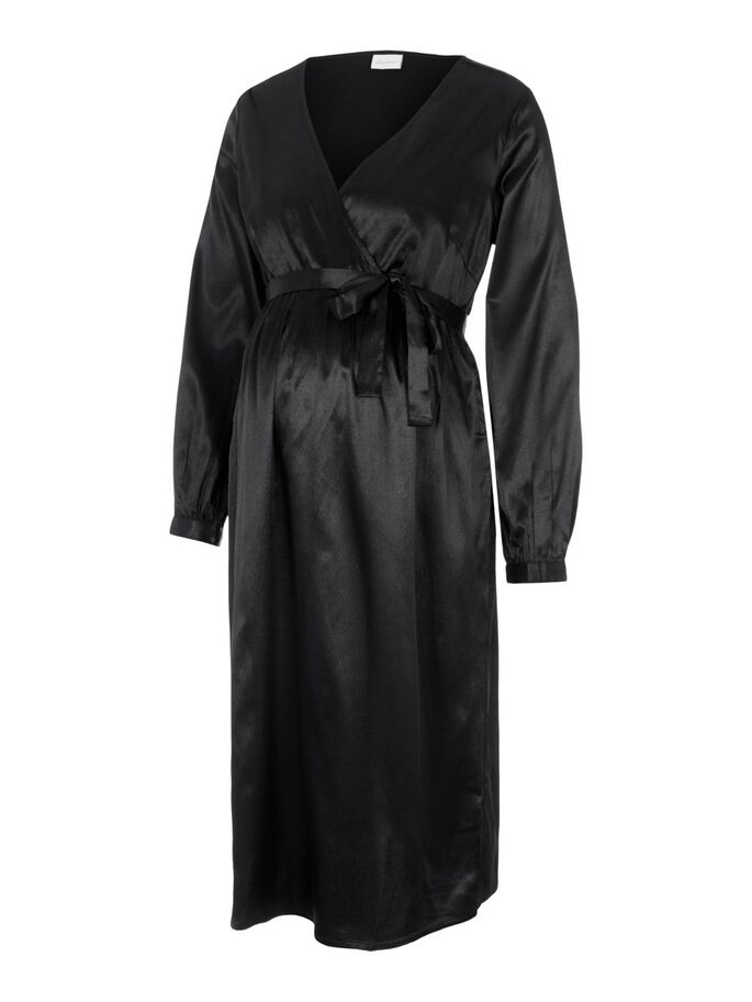 V-NECK SATIN MATERNITY DRESS, Black, large