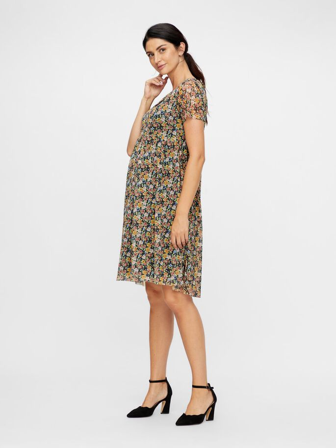 FLORAL SQUARE NECK MATERNITY MINI DRESS, Black, large