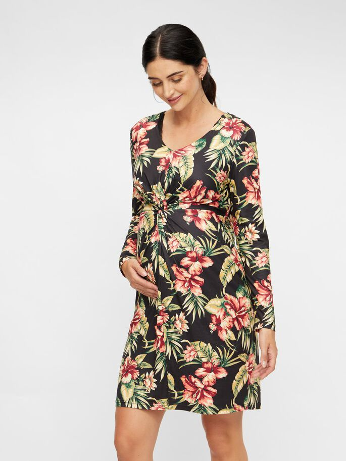 FLORAL KNOT DETAILED MATERNITY DRESS, Black, large