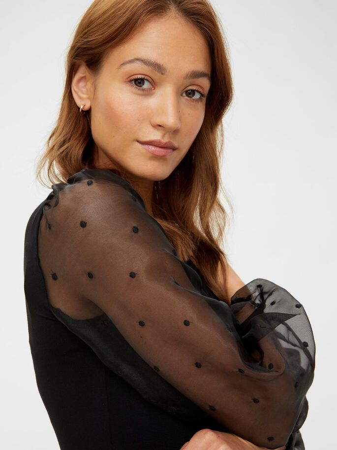 DOTTED MESH SLEEVED MATERNITY TOP, Black, large