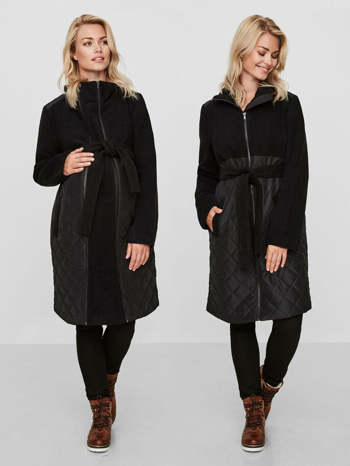 2-IN-1 MIXED MATERNITY COAT, Black, large