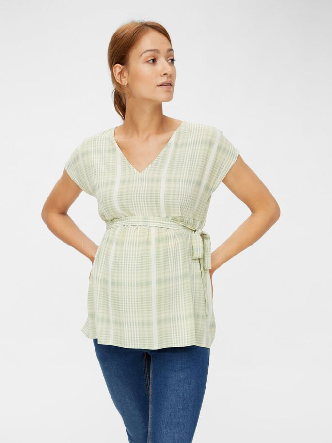 CHECKED MATERNITY TOP, Frosty Green, large