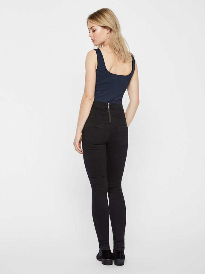 HIGH WAIST SLIM FIT JEANS, Black Denim, large