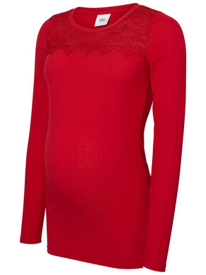 LACE DETAILED MATERNITY TOP, LONG SLEEVED