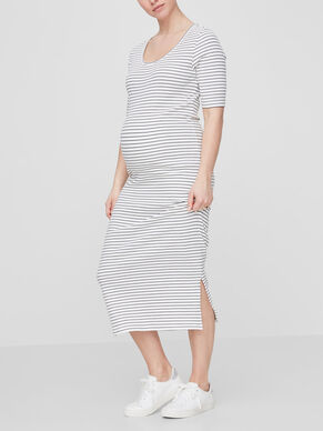 STRIPED MIDI MATERNITY DRESS