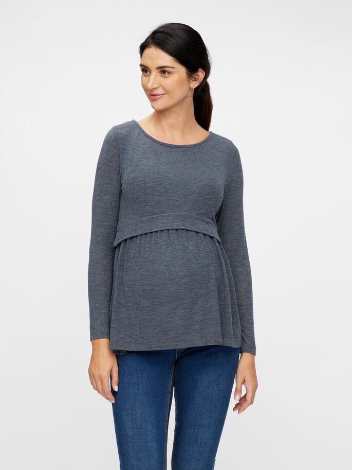 PEPLUM JERSEY 2-IN-1 MATERNITY TOP, Carbon, large