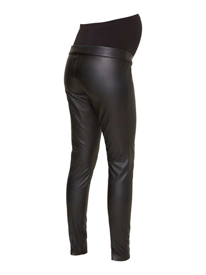 FAUX LEATHER MATERNITY TROUSERS, Black, large