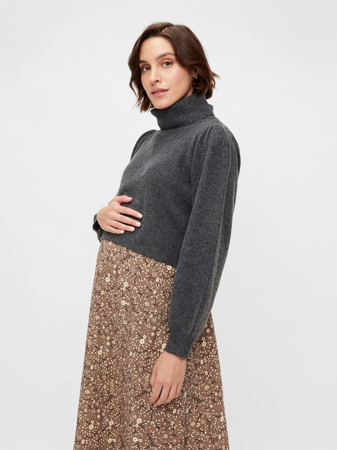 KNITTED HIGH NECK MATERNITY PULLOVER, Dark Grey Melange, large