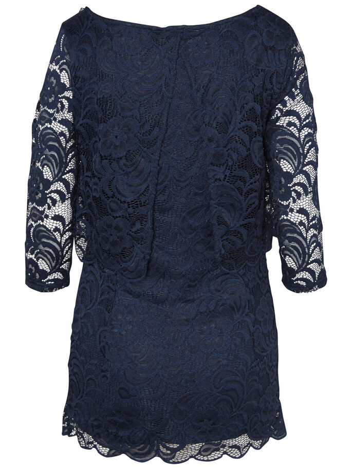 LACE NURSING BLOUSE, 3/4 SLEEVED, Navy Blazer, large
