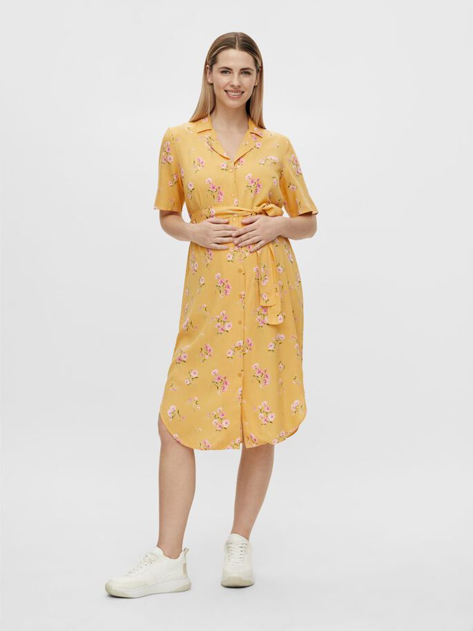 PCMTRINA MATERNITY SHIRT DRESS, Banana, large