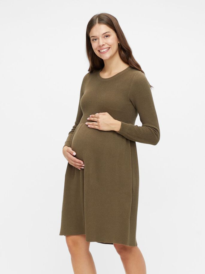 KNITTED MATERNITY DRESS, Stone Gray, large