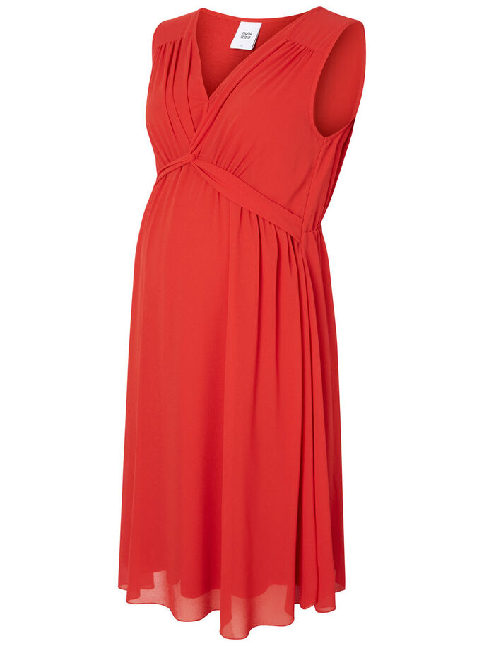 WOVEN MATERNITY DRESS, Pompeian Red, large