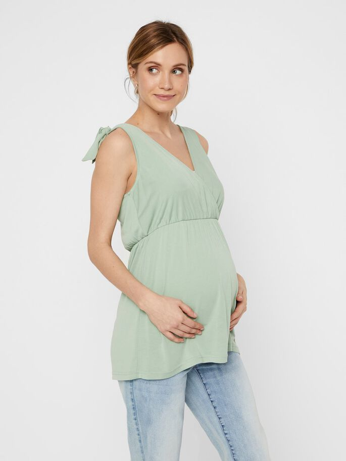 BOW STRAP 2-IN-1 MATERNITY TOP, Green Bay, large