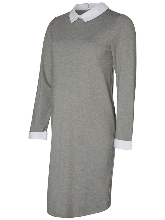 SHIRT MATERNITY DRESS, Medium Grey Melange, large