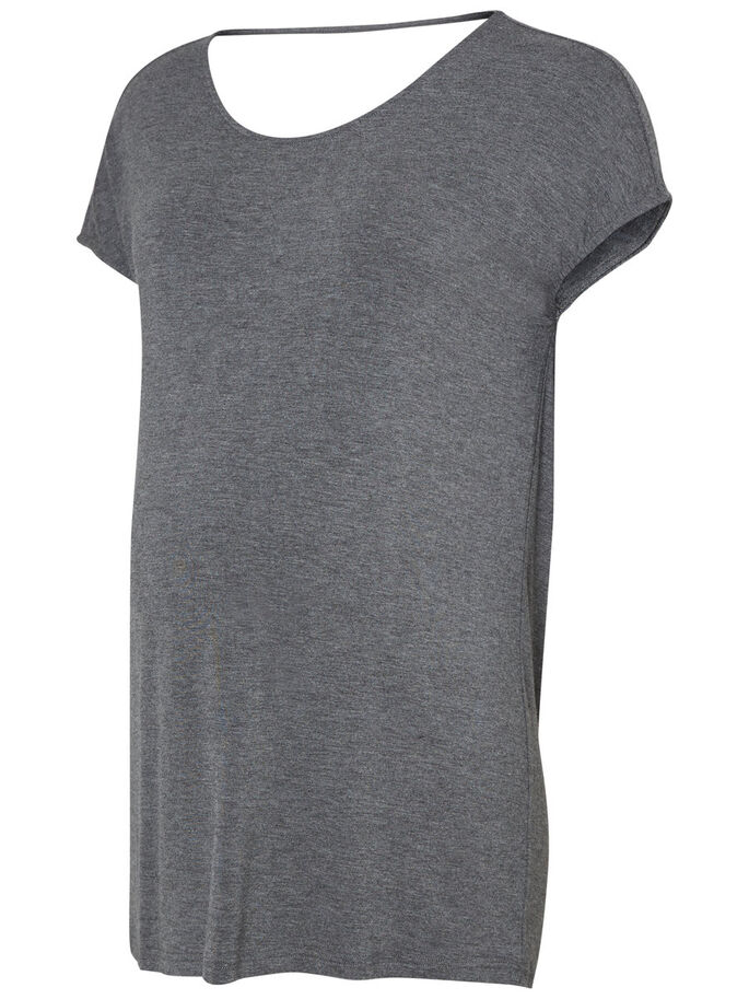 JERSEY TOP DE MATERNITÉ, MANCHES COURTES, Light Grey Melange, large