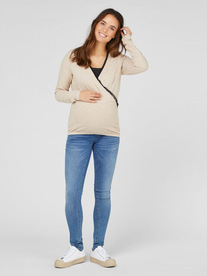 LACE NECKLINE 2-IN-1 MATERNITY TOP, Nomad, large