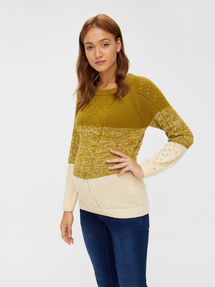 STRIPED KNITTED MATERNITY PULLOVER, Green Moss, large