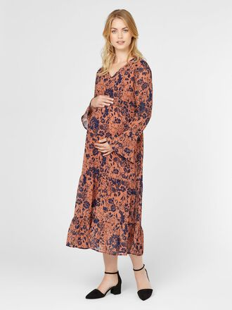 FLORAL FLOUNCE MATERNITY DRESS