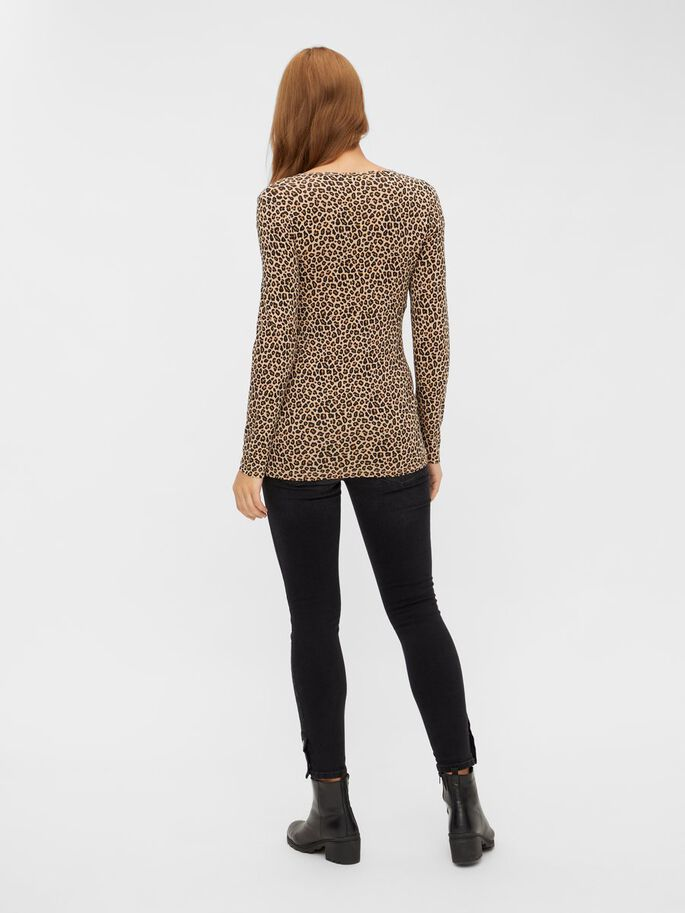 LEOPARD PRINTED 2-IN-1 MATERNITY TOP, Black, large
