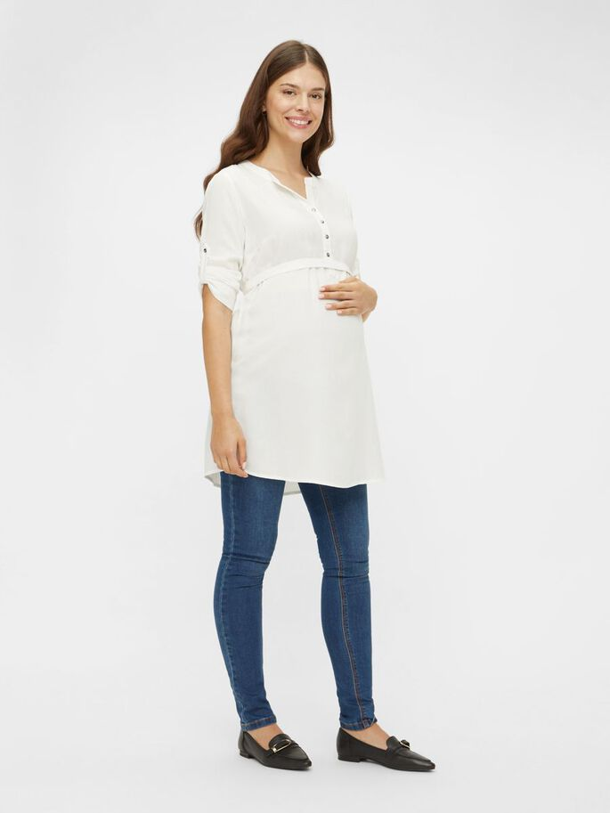 MLMERCY 3/4 SLEEVED MATERNITY TUNIC, Snow White, large