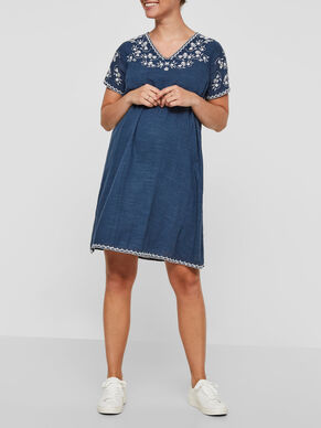 EMBRODERY DETAILED MATERNITY DRESS