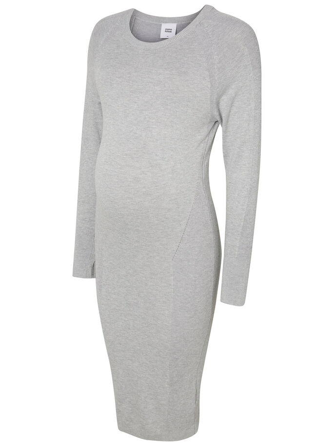STRIKKET VENTEKJOLE, Light Grey Melange, large