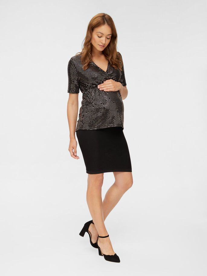 SEQUIN 2-IN-1 MATERNITY TOP, Black, large