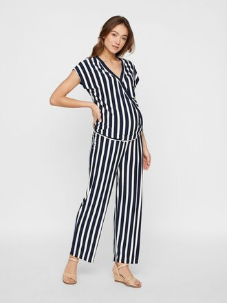STRIPED JERSEY MATERNITY JUMPSUIT