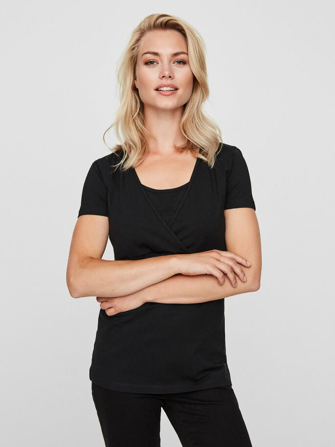 2-PACK NURSING TOP, SHORT SLEEVED, Black, large