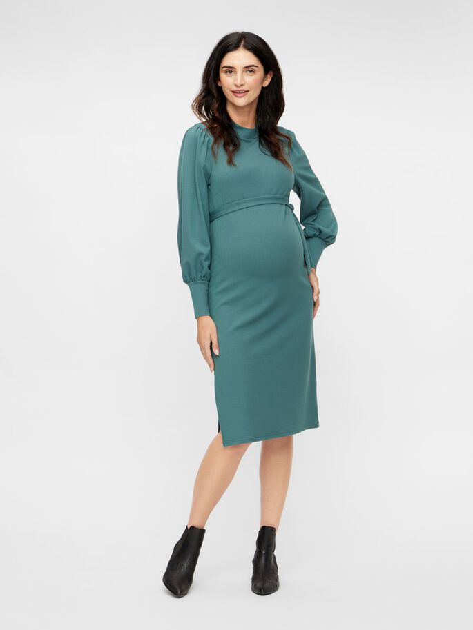 BODYCON JERSEY MATERNITY MIDI DRESS, North Atlantic, large