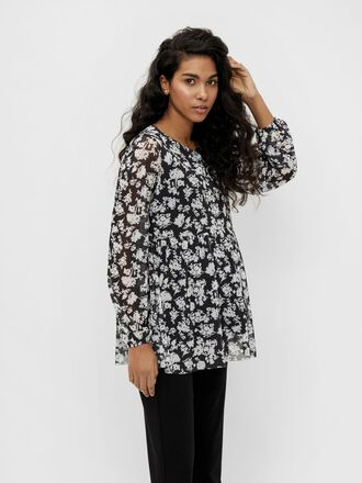 FLORAL MESH MATERNITY TOP