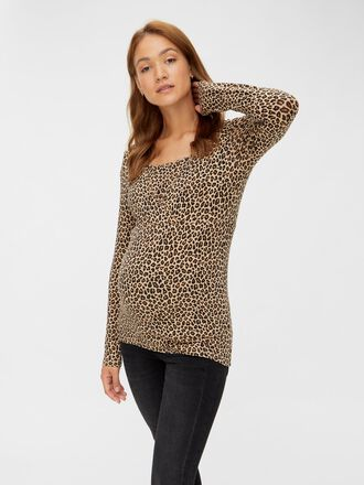 LEOPARD PRINTED 2-IN-1 MATERNITY TOP