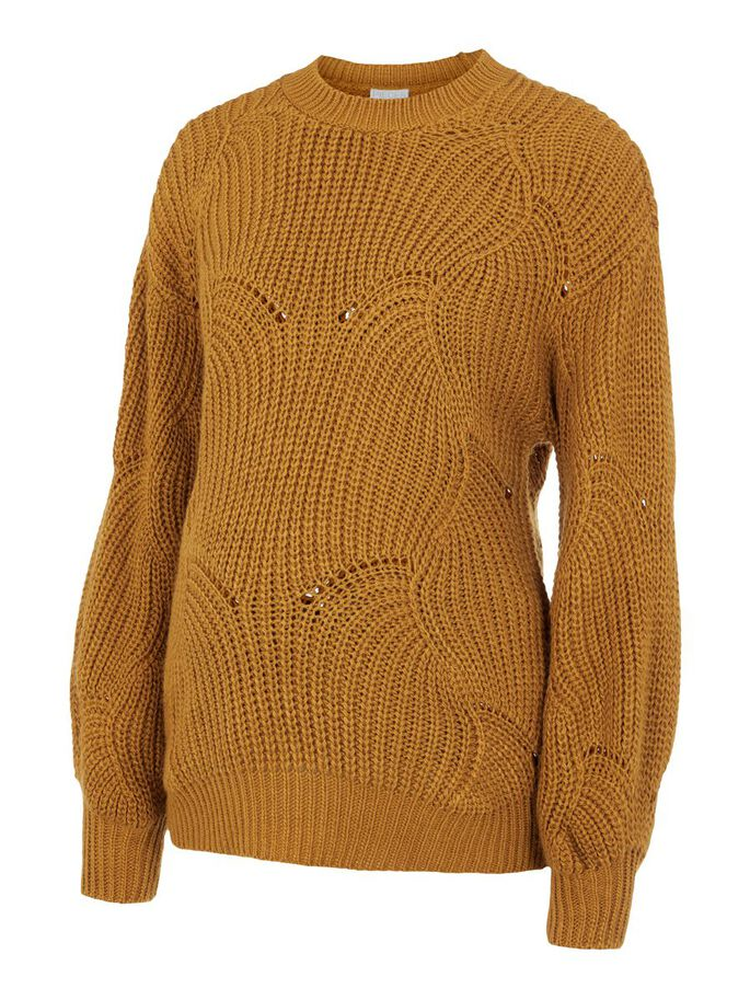 KNITTED LOOSE FIT MATERNITY PULLOVER, Nugget Gold, large