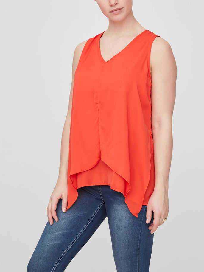 WOVEN NURSING TOP, SLEEVELESS, Fiery Red, large