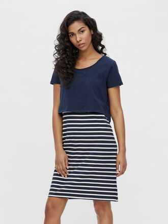 STRIPED 2-IN-1 MATERNITY DRESS