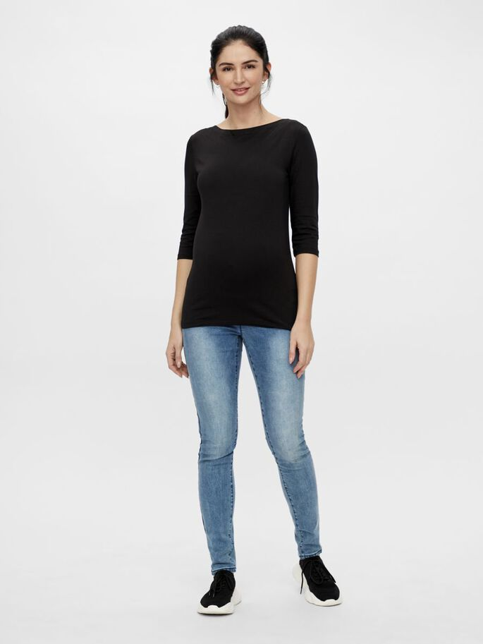 MLELNORA 3/4 SLEEVED MATERNITY TOP, Black, large