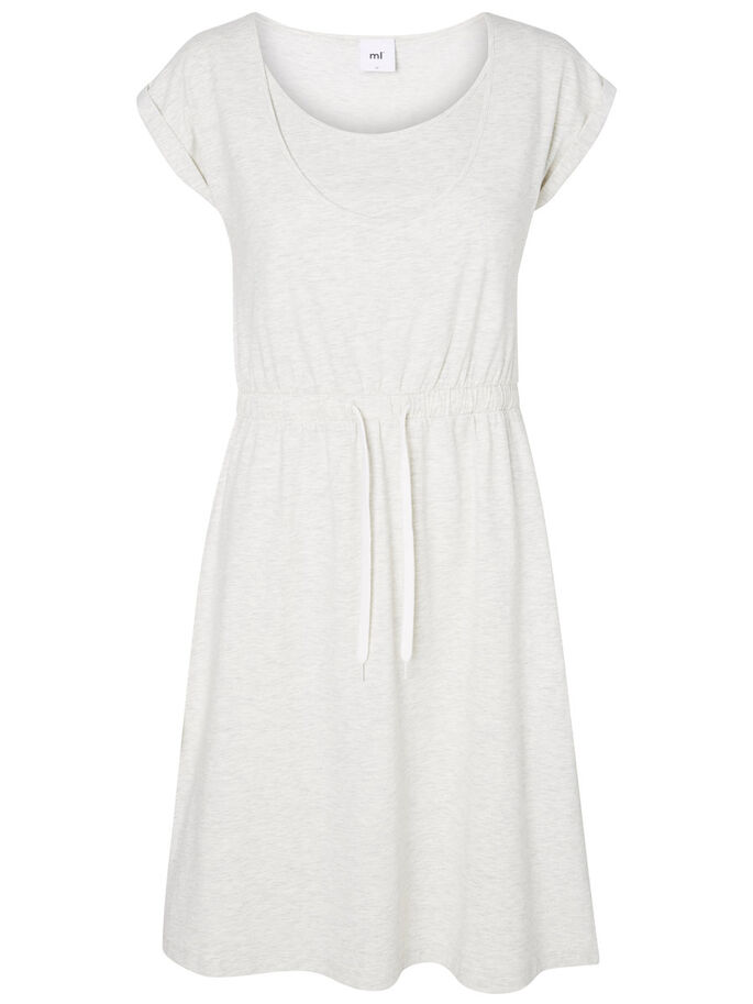 JERSEY NURSING DRESS, Light Grey Melange, large
