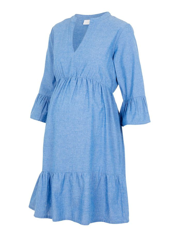 MLCHIA VISCOSE MATERNITY DRESS, Medium Blue Denim, large