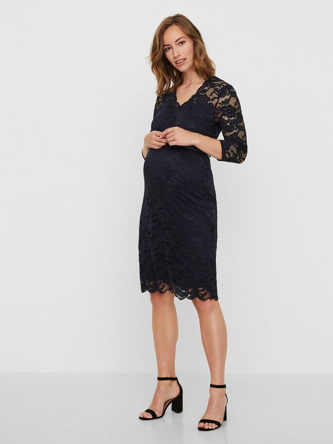 LACE MATERNITY DRESS, Navy Blazer, large