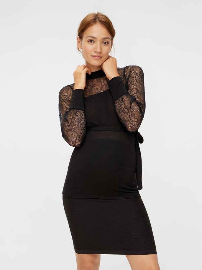 LACE SLEEVED MATERNITY TOP, Black, large