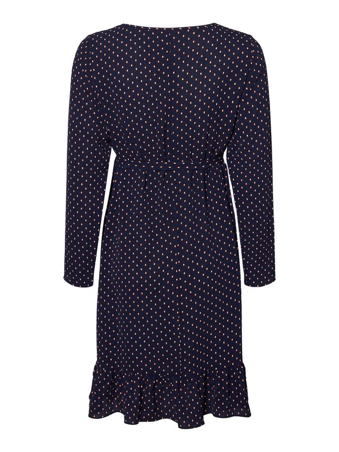 DOTTED LONG SLEEVED MATERNITY DRESS, Navy Blazer, large