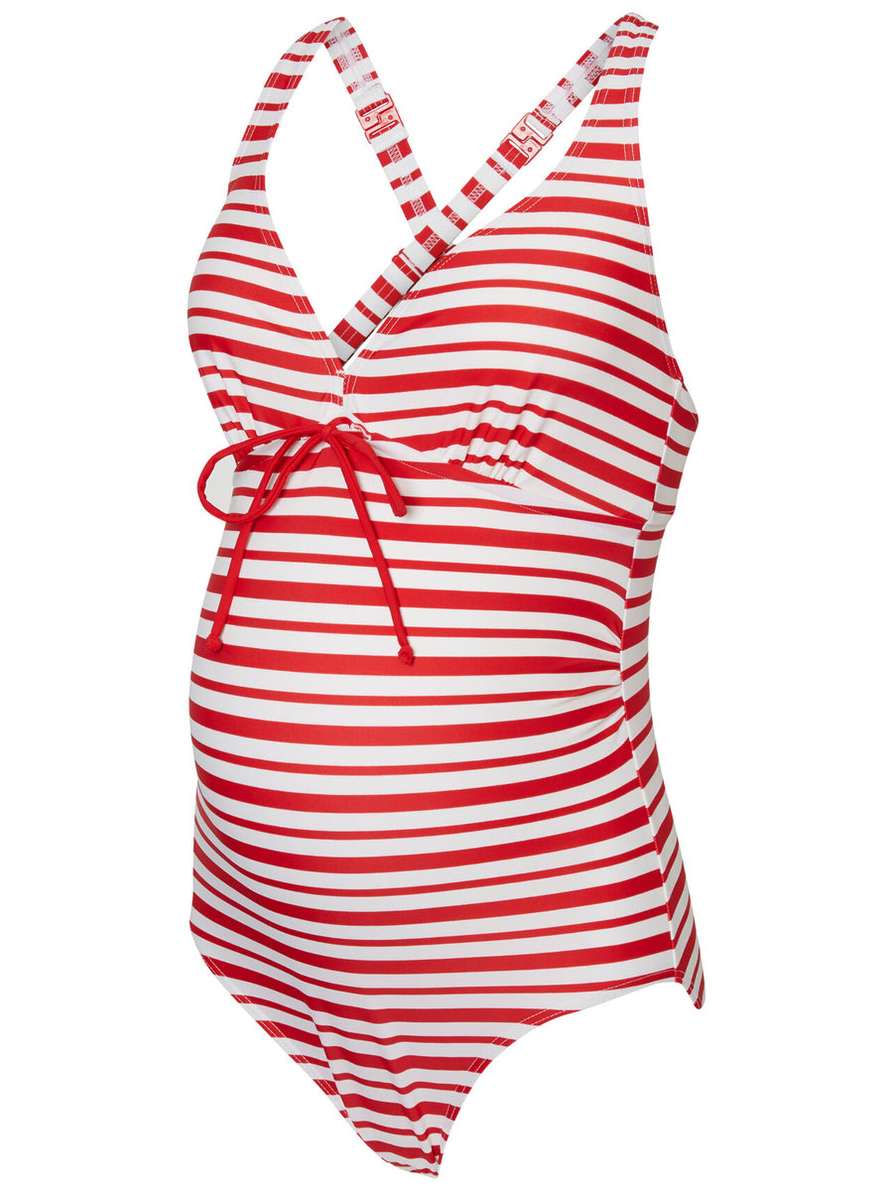 MAMA.LICIOUS Striped Swimsuit Women Red