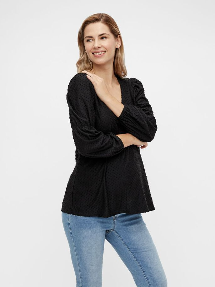 PCMGERALDINE MATERNITY TOP, Black, large